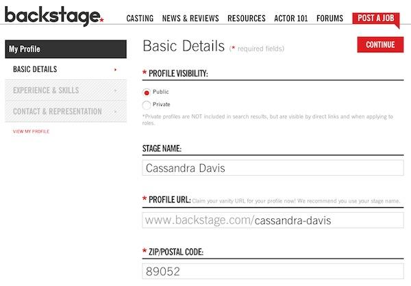 Create Your Casting Profile